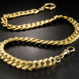 18K Yellow Gold Textured Curb Link Watch Chain - 2