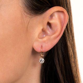 Victorian 2.02 Carat Total Weight Diamond Dangle Earrings - GIA