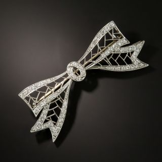 1920s Platinum Diamond Bow Pin