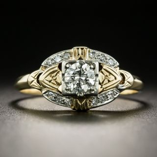 1940's Two-Tone .27 Carat Diamond Engagement Ring - 2