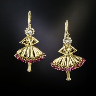 1940's Van Cleef & Arpels Ballerina Earrings - 3