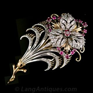 1940s Diamond and Ruby Floral Motif Pin Main View