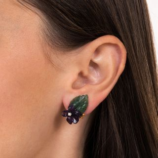 Vintage Amethyst, Nephrite and Diamond Flower Earrings by Birks