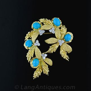 1950 s Turquoise and Diamond Brooch Main View