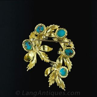 1950's Turquoise and Diamond Brooch