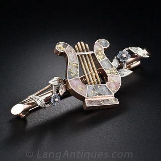 19th Century Gold in Quartz Lyre Pin