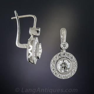 2.00 Carat Diamond Centers Platinum Halo Drop Earrings