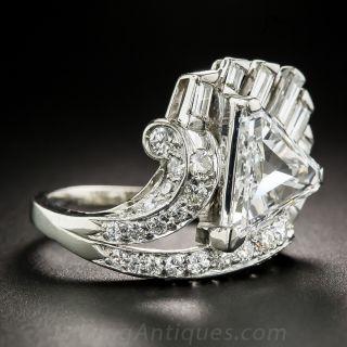 2.07 Carat Triangle Diamond Art Deco Platinum Ring - GIA D SI1