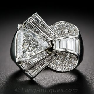 2.09 Carat Center Deco/Retro Diamond and Platinum Cocktail Ring - GIA - 1