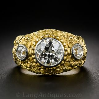 2.10 Carat Center Diamond Antique Three-Stone Ring - 1