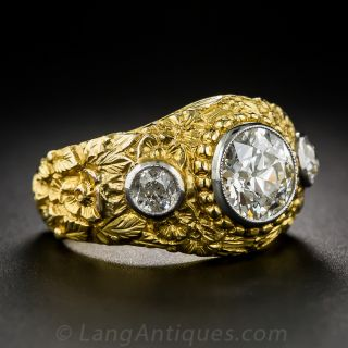 2.10 Carat Center Diamond Antique Three-Stone Ring