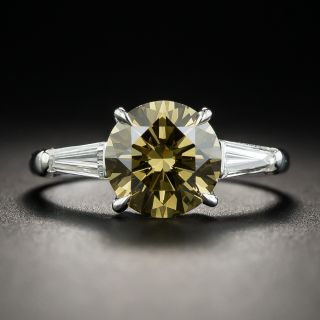 2.18 Carat Natural Fancy Dark Brown-Greenish Yellow Diamond (GIA) Platinum Diamond Ring - 1