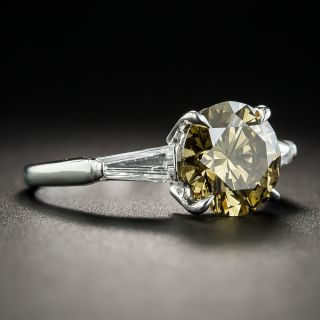 2.18 Carat Natural Fancy Dark Brown-Greenish Yellow Diamond (GIA) Platinum Diamond Ring