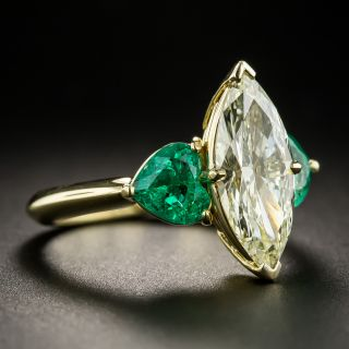 2.19 Carat Marquise Diamond and Emerald Ring - GIA