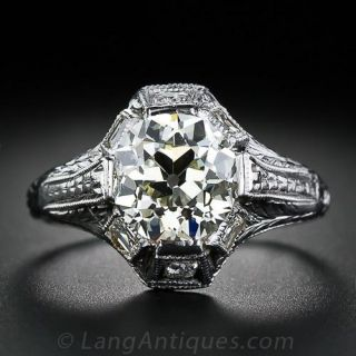 2.21 Carat European-Cut Diamond Vintage Style Engagement Ring - 1