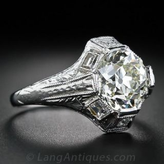 2.21 Carat European-Cut Diamond Vintage Style Engagement Ring