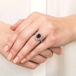 2.34 Carat No-Heat Burma Emerald-Cut Ruby and Diamond Ring
