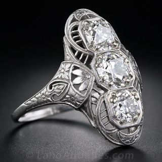 2.35 Carat Edwardian Three-Stone Dinner Ring