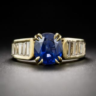 2.40 Carat Sapphire and Baguette Diamond Estate Ring  - 1