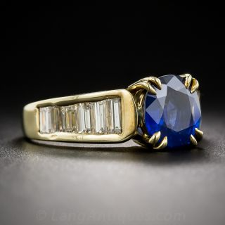 2.40 Carat Sapphire and Baguette Diamond Estate Ring