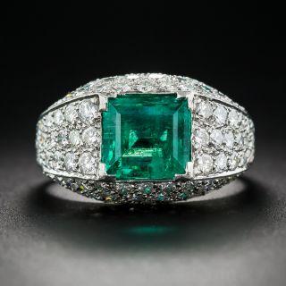 2.50 Carat Emerald and Pave' Diamond Ring in Platinum - 1