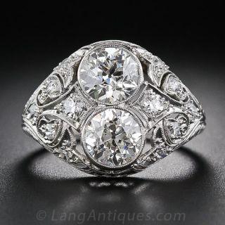 2.65 Carat 'Toi et Moi' Edwardian Twin Diamond Ring - 1
