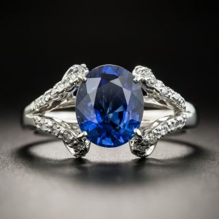 2.68 Carat No-Heat Thailand Sapphire Diamond Platinum Ring - 1