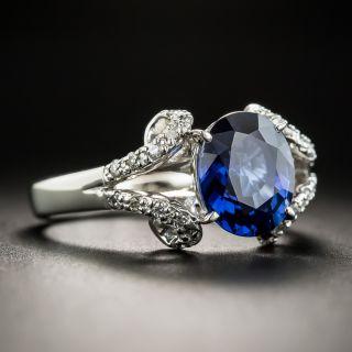 2.68 Carat No-Heat Thailand Sapphire Diamond Platinum Ring