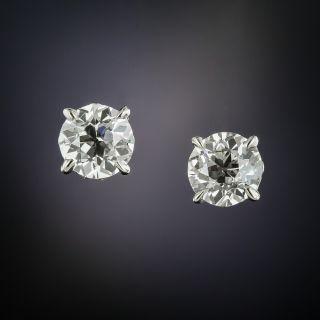 2.79 Carat Total Weight European Cut Diamond Stud Earrings - 4