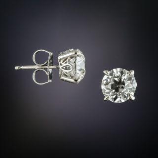 2.79 Carat Total Weight European Cut Diamond Stud Earrings