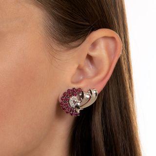 Retro Ruby and Diamond Clip Earrings