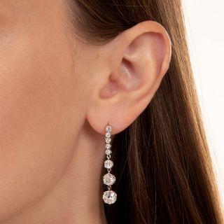 3.75 Carat Long Diamond Drop Earrings