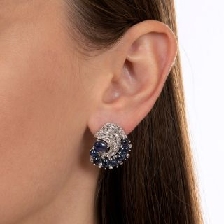Art Deco Cabochon Sapphire and Diamond Earrings