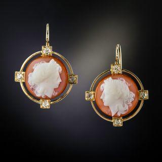 Victorian Hard Stone Cameo And Diamond Earrings - 1