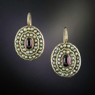 Victorian Garnet and Seed Pearl Earrings - 1
