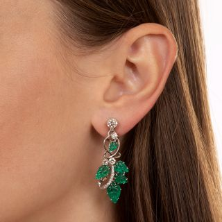 Estate Carved Emerald and Diamond Dangle Earrings