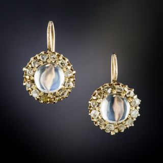 Edwardian Moonstone and Rose-Cut Diamond Halo Earrings - 1