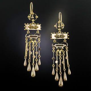 Victorian Long Dangle Fringe Earrings - 1