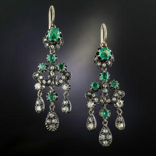 Victorian Girandole Emerald and Diamond Earrings - 2