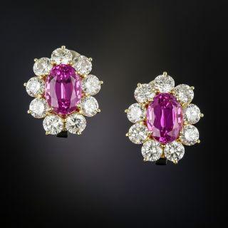 7.40 Carat Gem No-Heat Ceylon Pink Sapphire and Diamond Earrings - AGL - 1