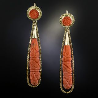 Victorian Style Day and Night Long Coral Drop Earrings - 1