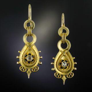 Antique Austro-Hungarian Rose-Cut Diamond and Enamel Drop Earrings  - 1