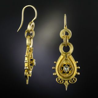 Antique Austro-Hungarian Rose-Cut Diamond and Enamel Drop Earrings