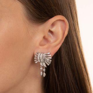 Mid-Century Platinum and Diamond Earrings