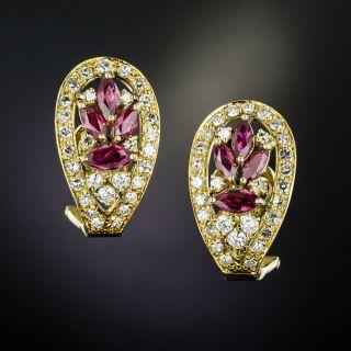 Estate MarquiseRuby and Diamond Earrings - 1
