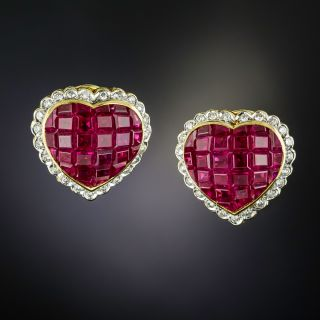 Invisibly Set Ruby and Diamond Heart Earrings - 1