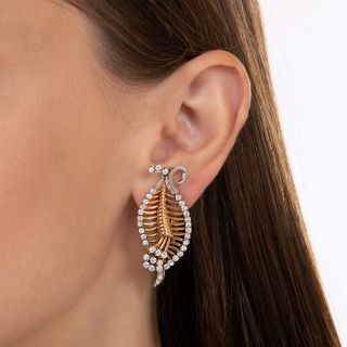Retro Diamond, Rose Gold, Platinum Leaf Earrings