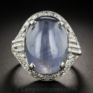 20 Carat Cabochon Sapphire Platinum Diamond Art Deco Ring