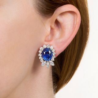 22.78 Carat Ceylon Sapphire and Diamond Earrings