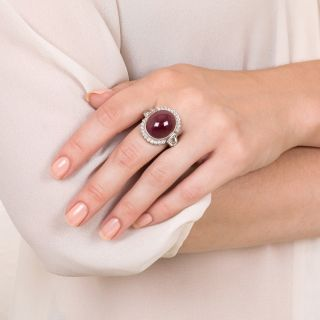 26 plus Carat No Heat Oval Cabochon Ruby and Diamond Ring